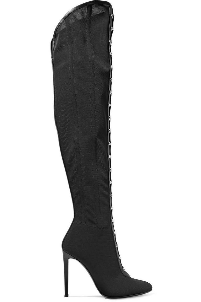Women's Giuseppe Zanotti New Black Thigh High Corset Lace up Heels Boots in Box For Sale
