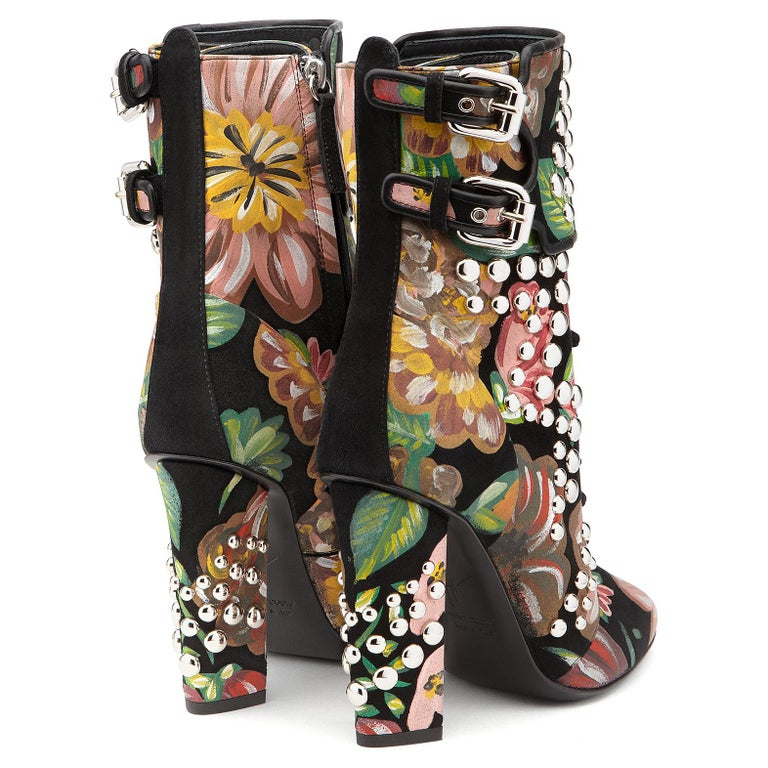 Women's Giuseppe Zanotti Hand Painted Floral Leather Chunky Block Heel Boots  For Sale