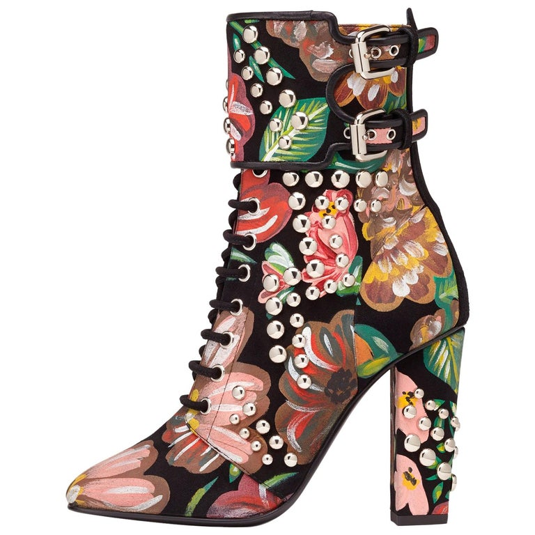 Giuseppe Zanotti Hand Painted Floral Leather Chunky Block Heel Boots  For Sale