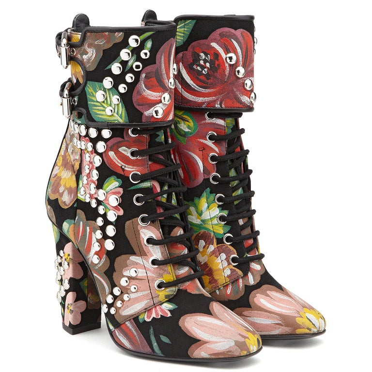 Brown Giuseppe Zanotti Hand Painted Floral Leather Chunky Block Heel Boots  For Sale