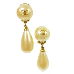 Chanel Rare Gold Charm Pearl on Pearl Evening Dangle Drop Earrings in Box