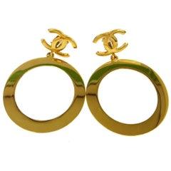 Chanel Rare Vintage Gold Charm Oversize Large Doorknocker Drape Drop Earrings