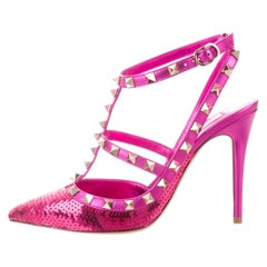 Valentino NEW Hot Fuchsia Leather Sequin Stud Evening Pumps Heels in Box
