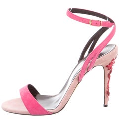 Oscar de la Renta NEW & SOLD OUT Pink Suede Evening Crystal Sandals Heels in Box