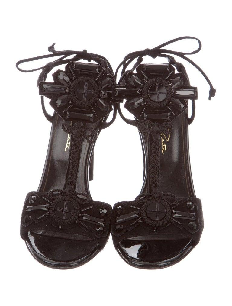Women's Oscar de la Renta NEW Black Sequin Bead Braid Evening Sandals Heels in Box  For Sale