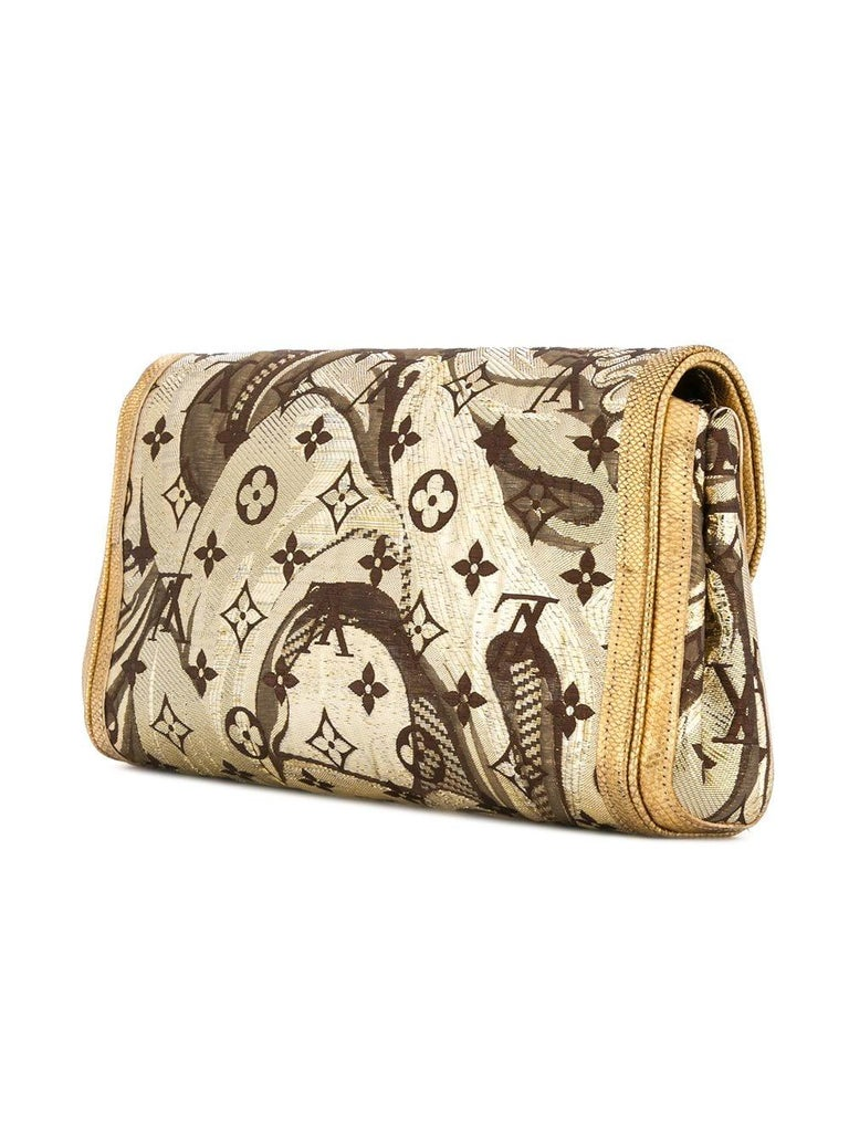 ba37dfae7377 Louis Vuitton Monogram Gold Brown Silk Leather Gold Evening Clutch Flap Bag  In Excellent Condition For