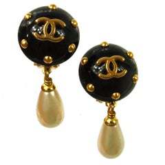 Chanel Studded Charm Pearl Black Evening Dangle Drop Earrings