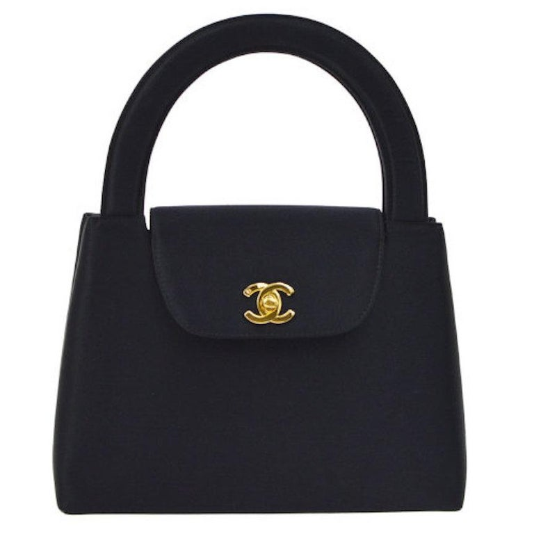 Chanel Black Satin Top Handle Satchel Kelly Style Mini Party Evening Bag For Sale