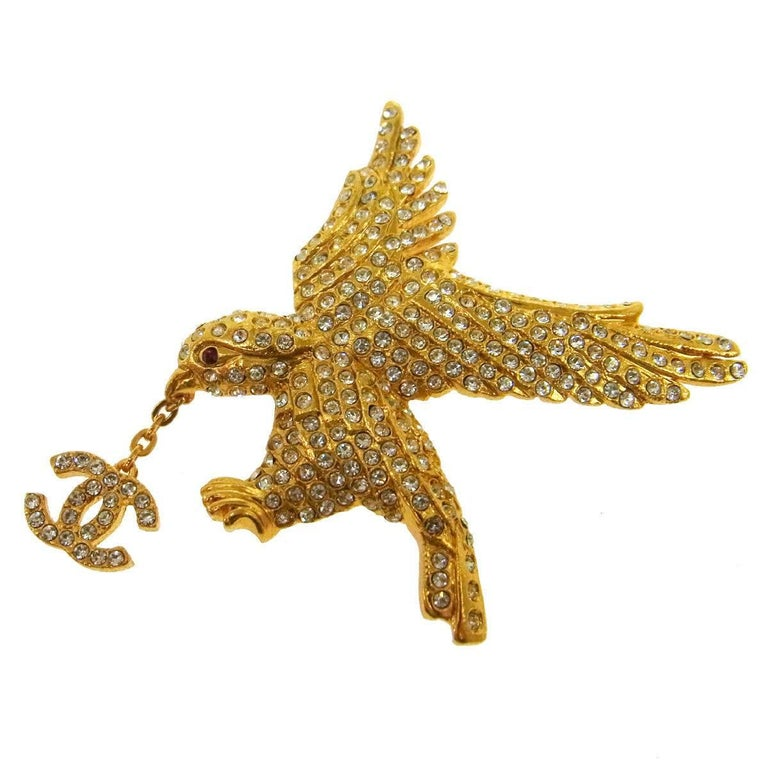 Chanel Rare Gold Crystal Studded Bird Charm Evening Pin Lapel Brooch in Box For Sale