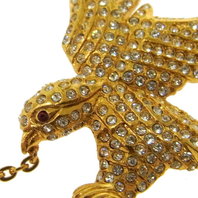 Chanel Rare Gold Crystal Studded Bird Charm Evening Pin Lapel Brooch in Box  Metal Gold tone hardware Crystal Pin closure Made in France Measures 2