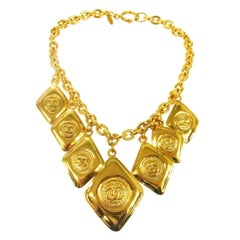 Chanel Vintage Gold Multi Charms Dangle Collar Choker Evening Necklace in Box