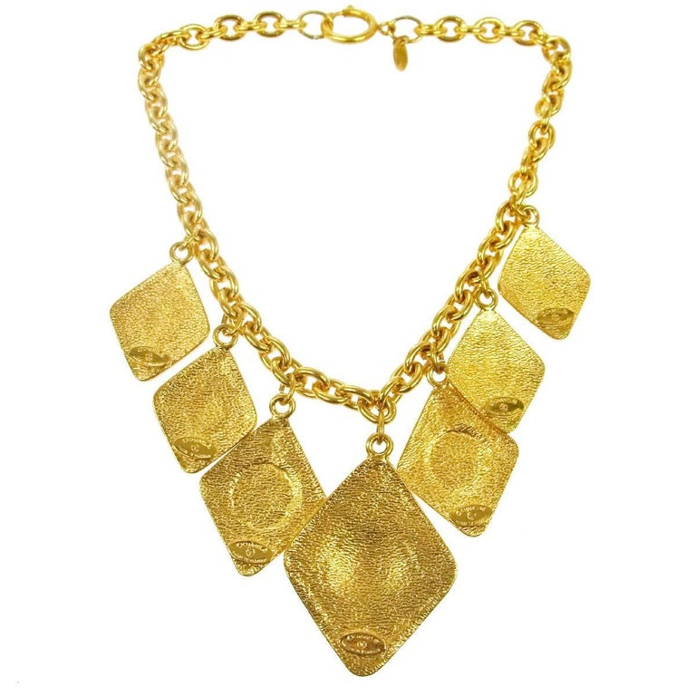 Chanel Vintage Gold Multi Charms Dangle Collar Choker Evening Necklace in Box In Excellent Condition For Sale In Chicago, IL