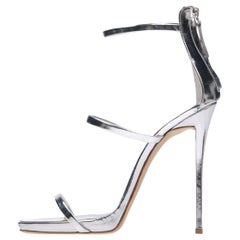 Giuseppe Zanotti NEW Silver Leather Evening Strappy Ankle Sandals Heels in Box