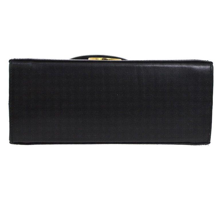 Salvatore Ferragamo Black Leather Gold Kelly Style Top Handle Mini Bag In Good Condition For Sale In Chicago, IL