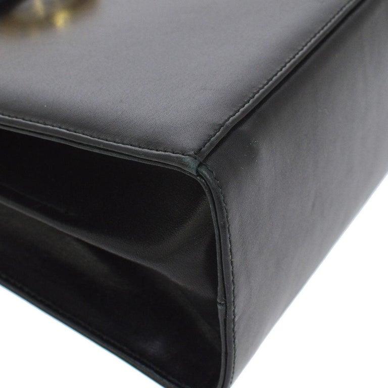 Women's Salvatore Ferragamo Black Leather Gold Kelly Style Top Handle Mini Bag For Sale
