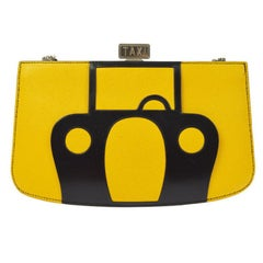 Hermes Rare Leather Yellow Black Taxi 2 in 1 Evening Clutch Shoulder Bag