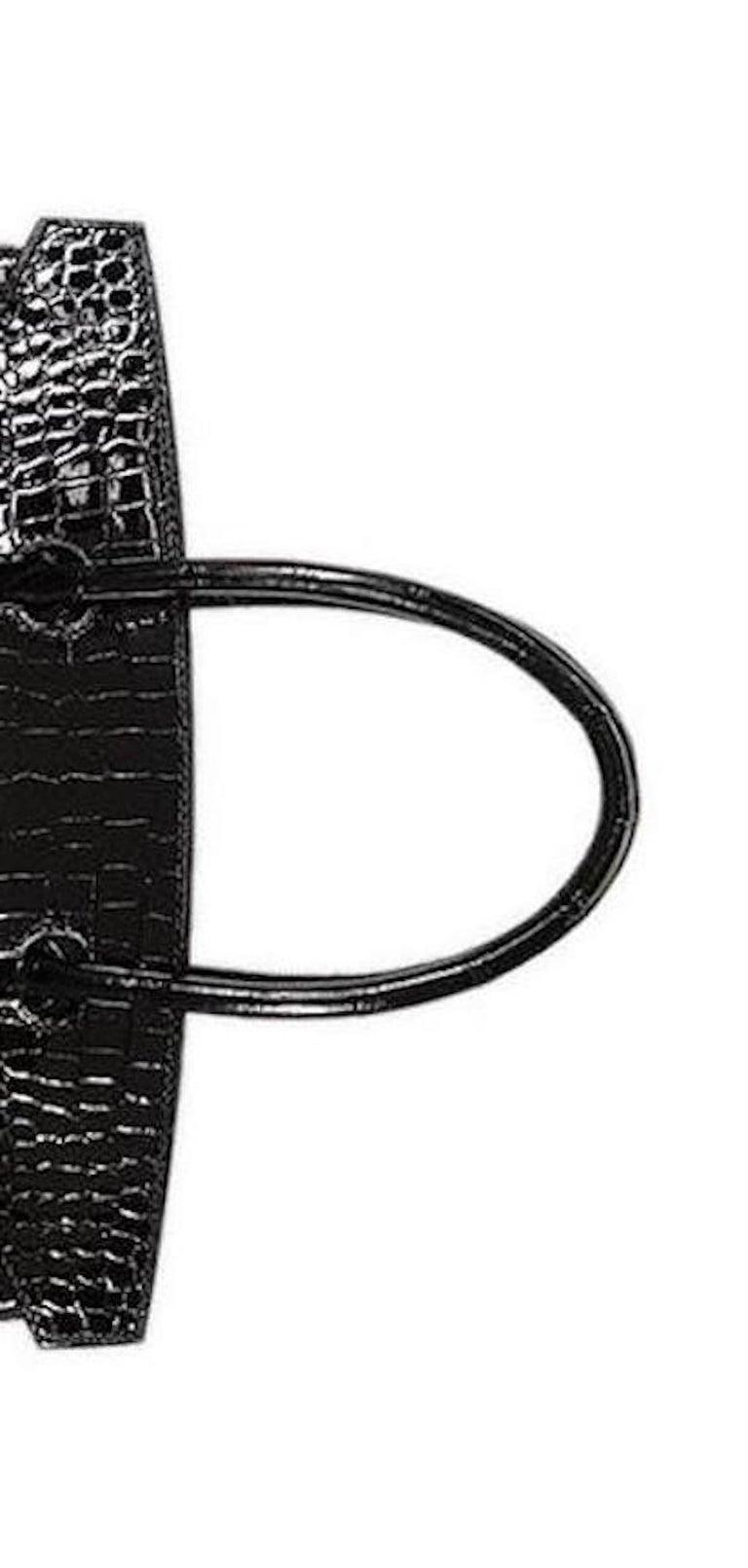 Women's Hermes Birkin 30 NEW Rare Shiny Crocodile Top Handle Satchel Tote Bag in Box For Sale