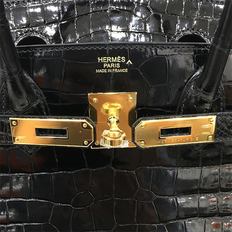 Black Hermes Birkin 30 NEW Rare Shiny Crocodile Top Handle Satchel Tote Bag in Box For Sale