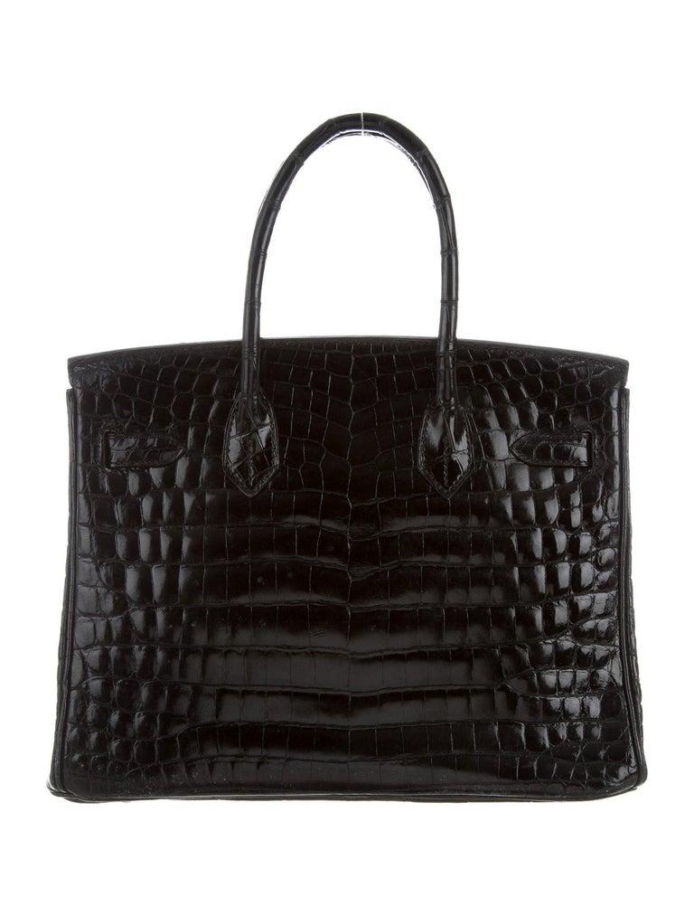 Hermes Birkin 30 NEW Rare Shiny Crocodile Top Handle Satchel Tote Bag in Box For Sale 2