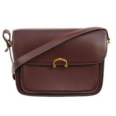 Cartier Burgundy Leather Gold Logo Charm Evening Flap Shoulder Crossbody Bag