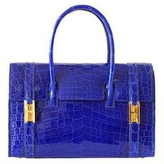 Hermes Rare Blue Crocodile Gold 'H' Buckle Evening Top Handle Satchel Flap Bag