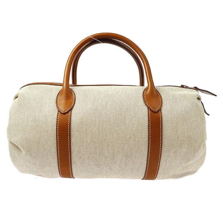 Hermes Canvas Cognac Leather Small Top Handle Satchel Speedy Carryall Bag