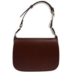 Cartier Burgundy Wine Leather Saddle Top Handle Shoulder Flap Bag