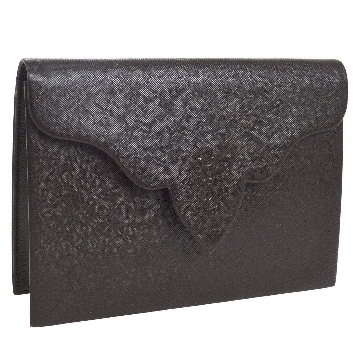 a4da7e7fb017 Yves Saint Laurent YSL Chocolate Brown Leather Envelope Evening Flap Clutch  Bag For Sale at 1stdibs