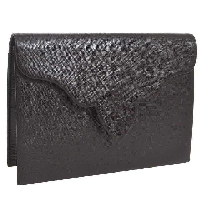Yves Saint Laurent YSL Chocolate Brown Leather Envelope Evening Flap Clutch Bag