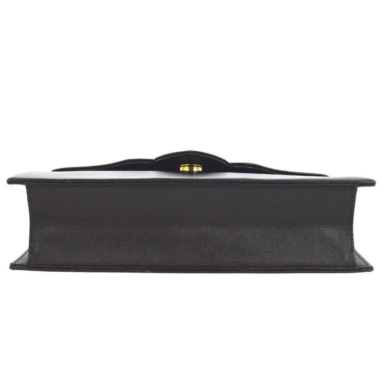 Black Yves Saint Laurent YSL Chocolate Brown Leather Envelope Evening Flap Clutch Bag