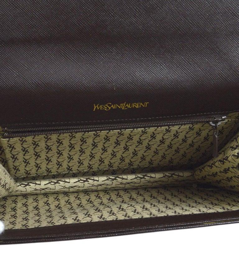 Women's Yves Saint Laurent YSL Chocolate Brown Leather Envelope Evening Flap Clutch Bag