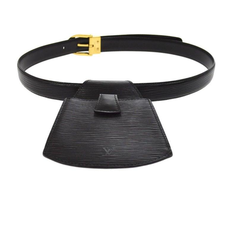 Louis Vuitton Black Leather Men's Women's Fanny Pack Waist Bag For Sale