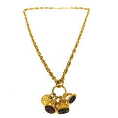 Chanel Gold Multi Gripoix Charm Chain Pendant Drape Drop Chain Evening Necklace
