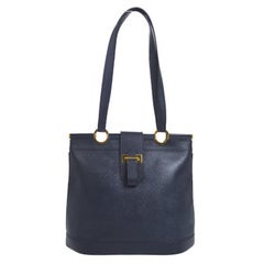 Hermes Dark Blue Gold Hardware Slip Closure Travel Carryall Tote Shoulder Bag