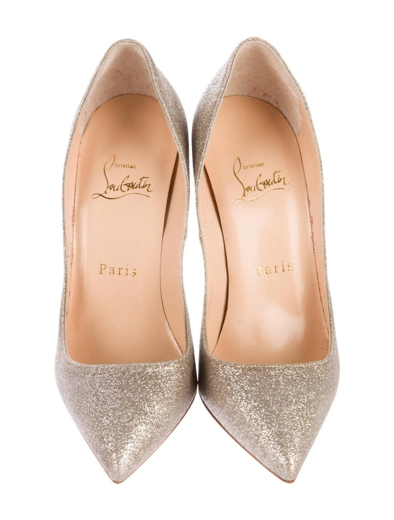 b165d051996 Beige Christian Louboutin NEW Glitter Leather Evening Pigalle Heels Pumps  For Sale