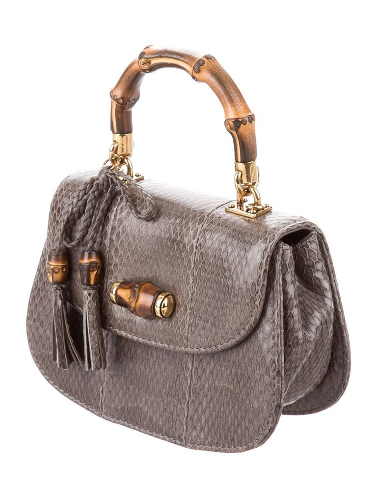 8545d18dd CURATOR'S NOTES Gucci Gray Snakeskin Bamboo Top Handle Kelly Mini Evening Satchel  Shoulder Flap Bag Snakeskin
