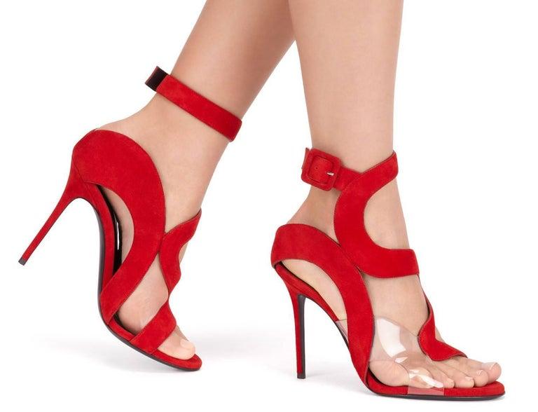 bbd2590b57d288 Giuseppe Zanotti NEUE Rote Wildleder Abend-Sandalen High Heels in Box mit  Klarem PVC Ausschnitt