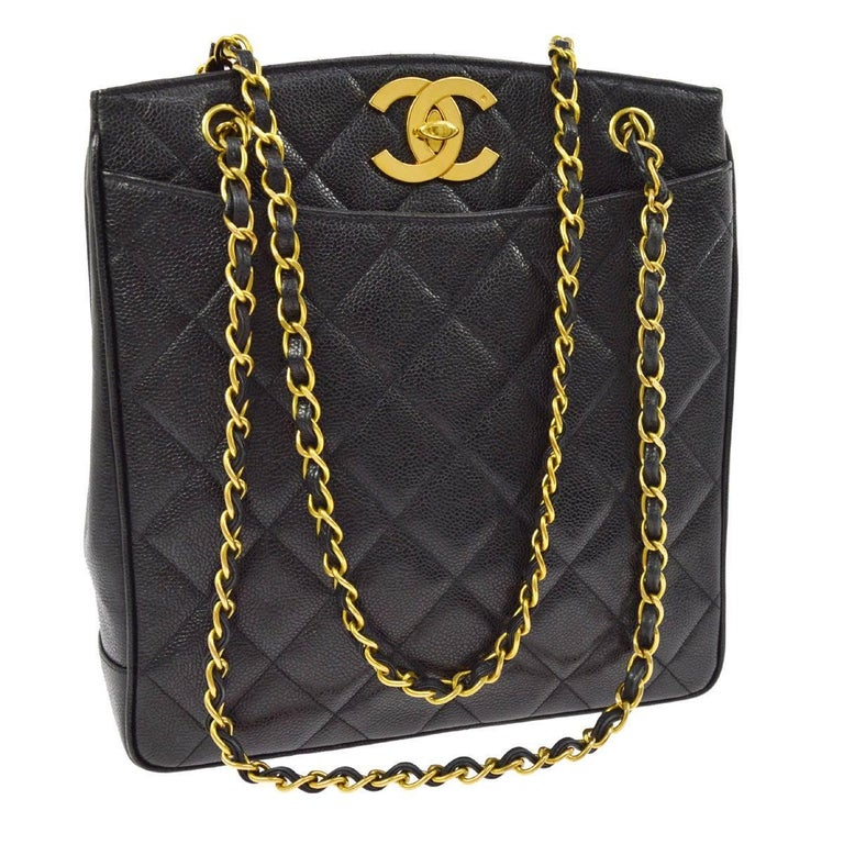 Chanel Black Caviar Leather Quilted Gold Shopper Carryall Tote Shoulder Bag