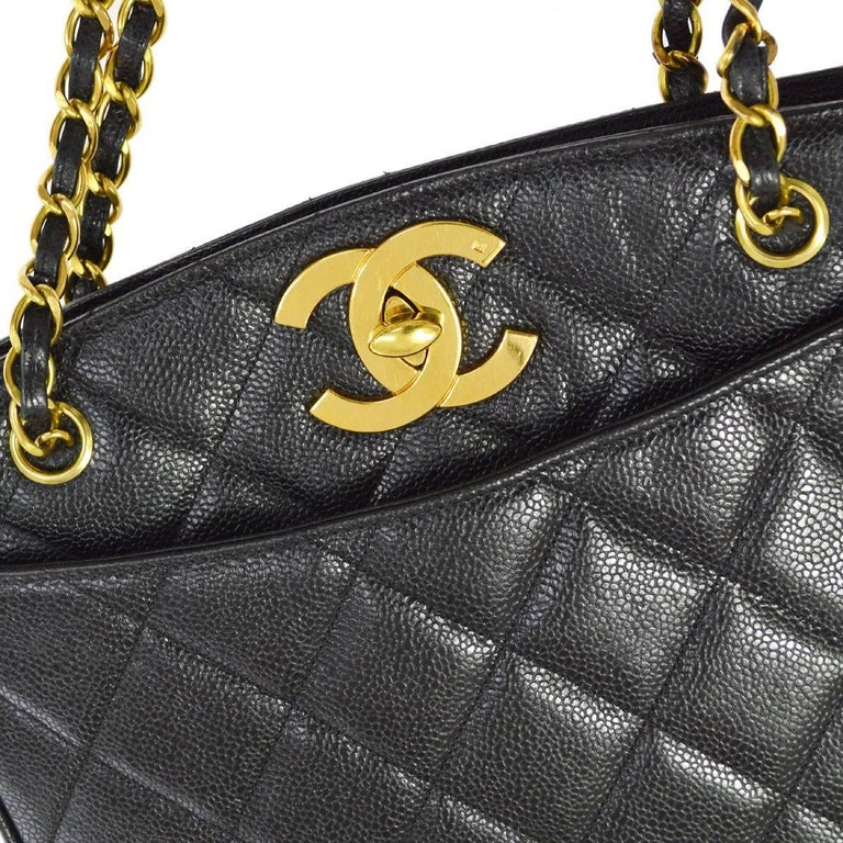 Chanel Black Caviar Quilted Gold Shopper Carryall Tote Shoulder Bag   Caviar Gold tone hardware Turnlock closure Leather lining Made in France Date code present Shoulder strap drop 13