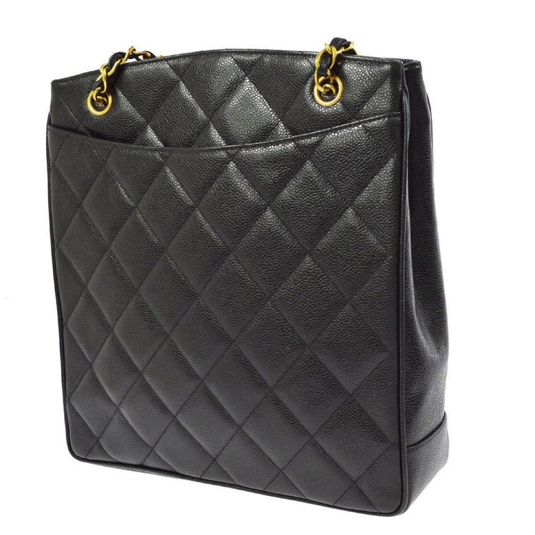 Women's Chanel Black Caviar Leather Quilted Gold Shopper Carryall Tote Shoulder Bag