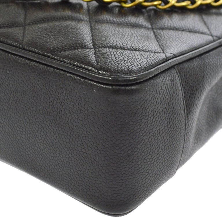 Chanel Black Caviar Leather Quilted Gold Shopper Carryall Tote Shoulder Bag 2