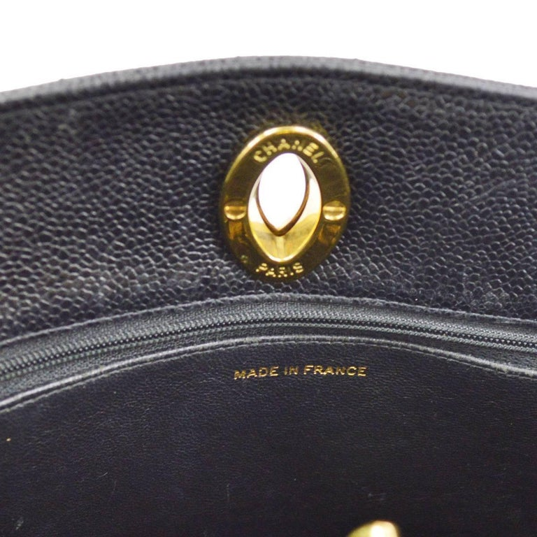 Chanel Black Caviar Leather Quilted Gold Shopper Carryall Tote Shoulder Bag 5