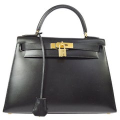 HERMES Kelly 28 Black Leather Gold Top Handle Satchel Tote Shoulder Bag in Box