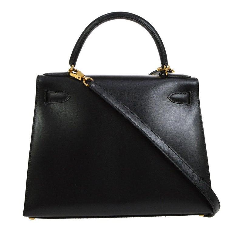 Brown HERMES Kelly 28 Black Leather Gold Top Handle Satchel Tote Shoulder Bag in Box For Sale