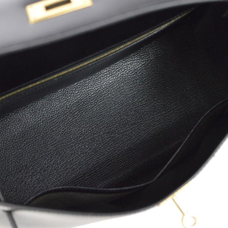 HERMES Kelly 28 Black Leather Gold Top Handle Satchel Tote Shoulder Bag in Box For Sale 1