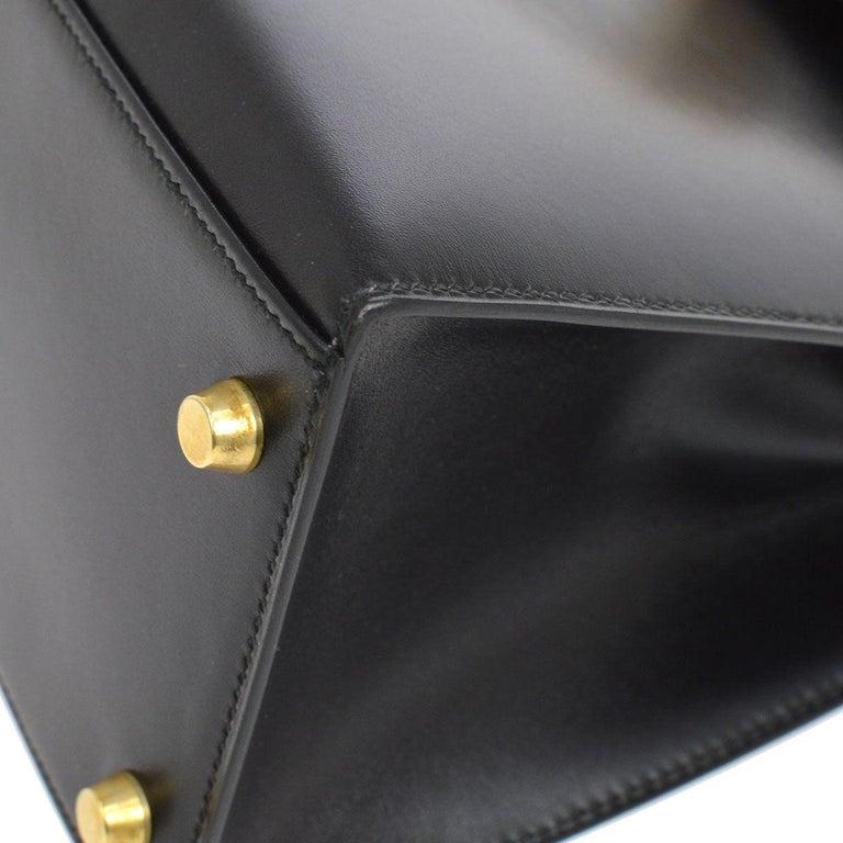 Women's HERMES Kelly 28 Black Leather Gold Top Handle Satchel Tote Shoulder Bag in Box For Sale