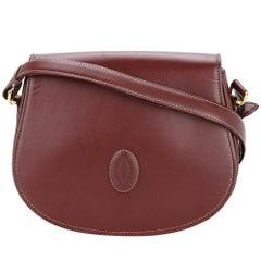 Cartier Wine Burgundy Leather Gold Saddle Flap Shoulder Crossbody Bag