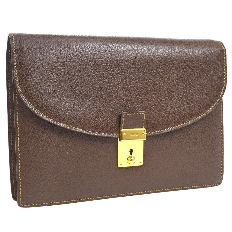 70a021b2b40b Gucci Chocolate Brown Leather Envelope Flip Lock Evening Clutch Flap Bag  For Sale