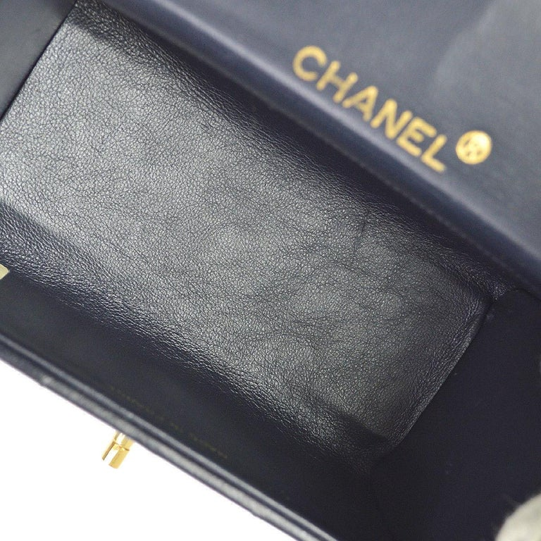 Chanel Rare Midnight Navy Blue Leather Gold Top Handle Satchel Mini Evening Bag For Sale 1