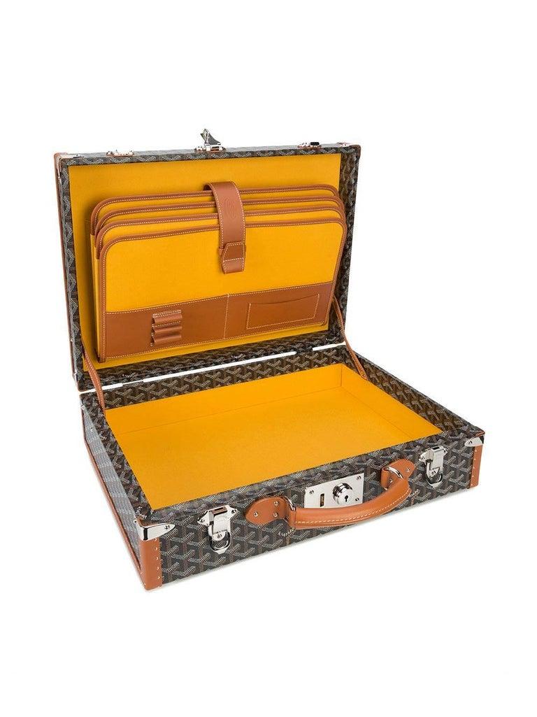 Goyard NEW Monogram Cognac Men's Women's Business Travel Brief Case Briefcase For Sale 1